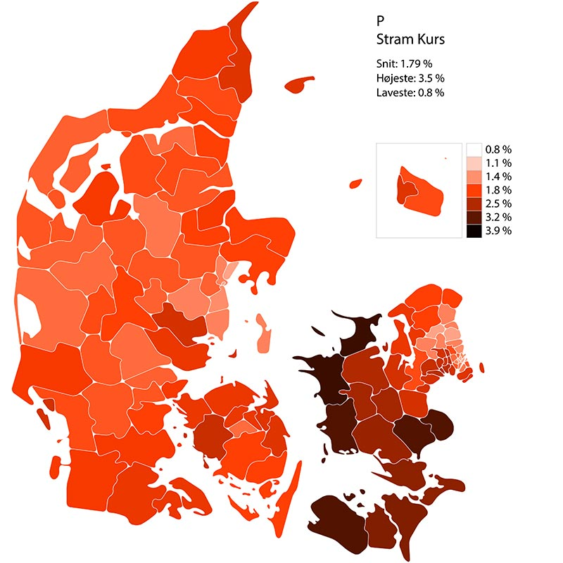 Folketingssvalg 2019. Performance for liste P