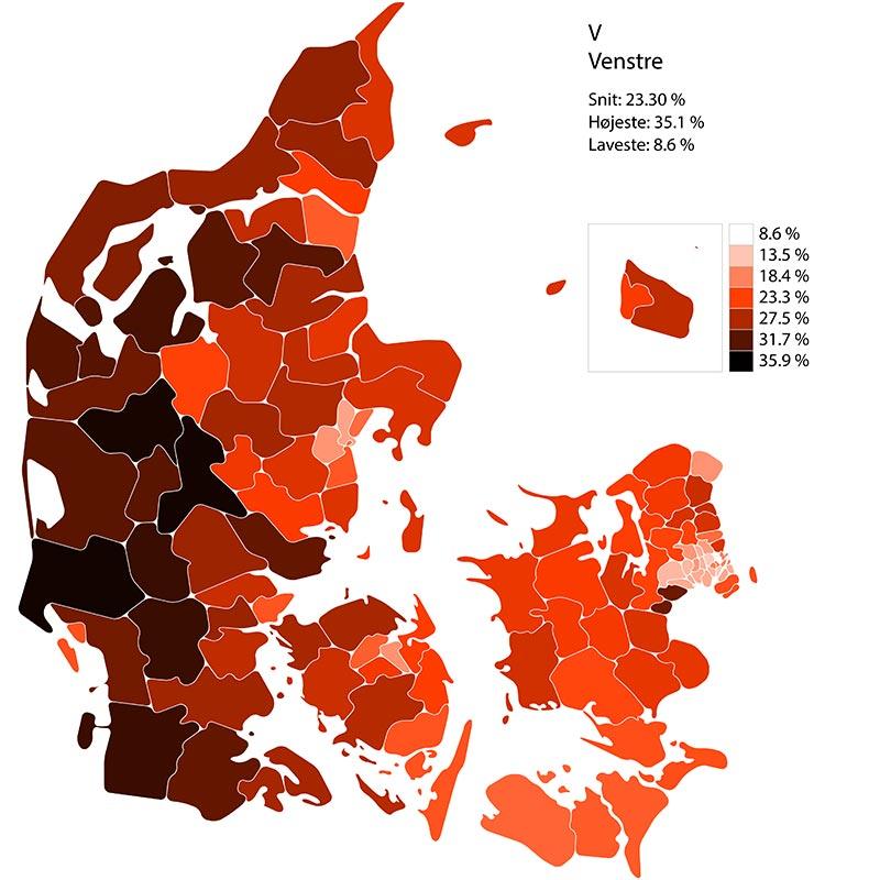 Folketingssvalg 2019. Performance for liste V